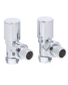 Altecnic Modern Angled Polished Radiator Valves Chrome