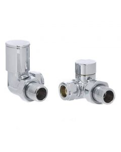 Altecnic Modern Corner Polished Radiator Valves Chrome