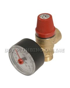 Altecnic Safety Relief Valve 6 Bar 1/2 with Gauge M x F 314460