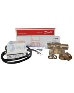 Danfoss HP22 - contents shown alongside product box detailing HPA2 actuator, HPV22 valve, screws and product installation guide