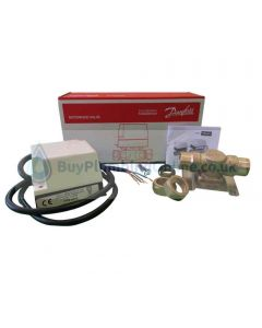 Danfoss HP28 - contents unboxed next to packaging displaying the HPA2 actuator and the HPV28 valve, screws and product installation guide that comes with