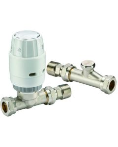Danfoss RAS-C2 15mm Straight TRV & Locksheld White/Nickel 013G6003