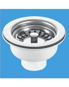 Mcalpine Kitchen Sink Basket Strainer Waste 3.5 Chrome BWSTSS