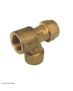 OSO Brass Tee 15mm x 1/2 FI x 15mm 250006