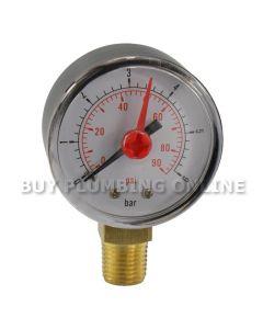 Pressure Gauge 50mm 0-6 Bar 1/4 bottom thread
