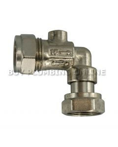 15mm x 1/2  Angled Isolating Service Valve Chrome