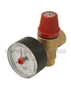 Altecnic Safety Relief Valve 3 Bar 1/2 with Gauge M x F 314430