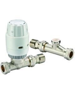 Danfoss RAS-C2 15mm Straight TRV & Locksheld White/Nickel 013G6003