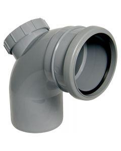 Floplast 110mm Soil Access Bend 92.5° Single Socket Grey SP169