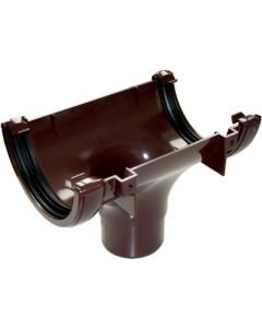 Floplast 112mm Half Round Gutter Outlet Brown RO1BR