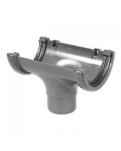 Floplast 112mm Half Round Gutter Outlet Grey RO1G