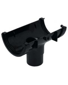 Floplast 112mm Half Round Gutter Outlet Black RO1B