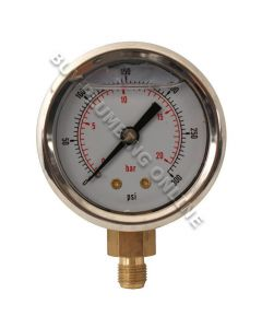 Oil Pressure Gauge 20 Bar Glycerine Filled 1/8