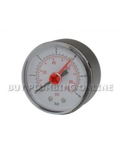 """Pressure Gauge 50mm 0-6 Bar 1/4"""" back thread"""
