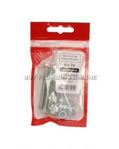 Timco Metric H/T Set Screw with Nut 6 x 50 (4) 650SNZP