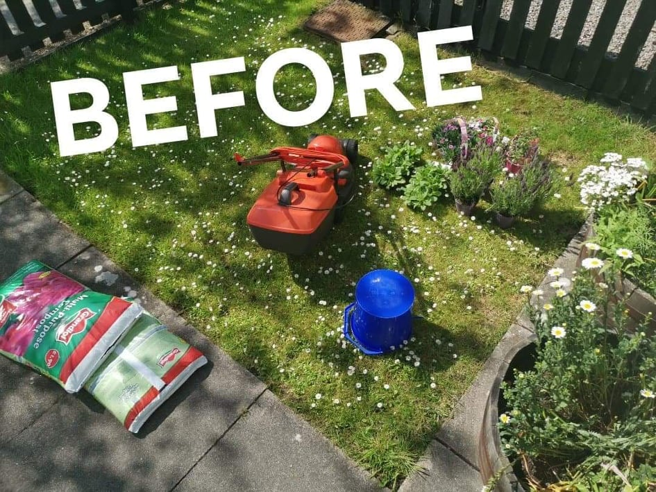 Messy front garden with gardening tools and flowers awaiting planting