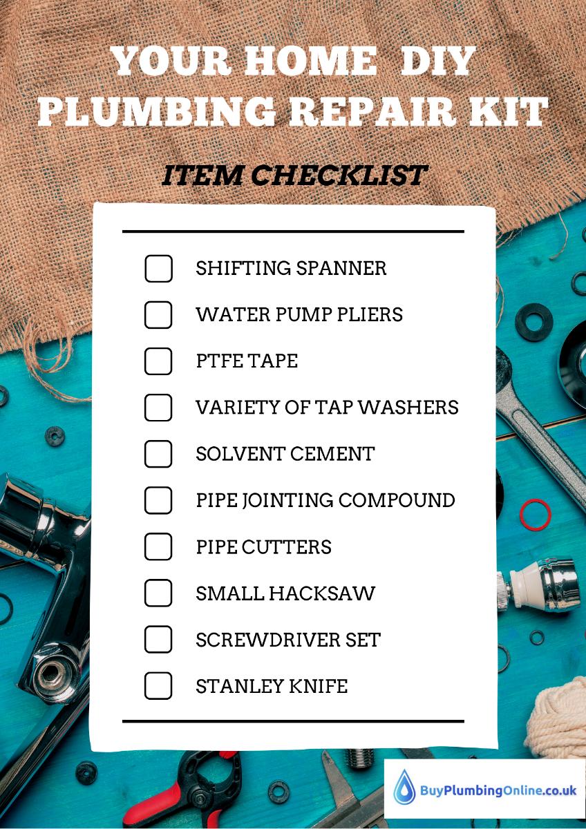 Buy Plumbing Online Home DIY Plumbing Repair Kit Checklist