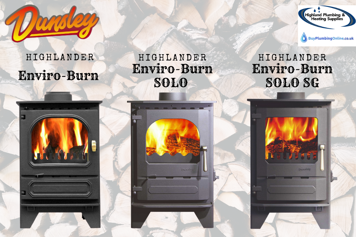 Side by side images of Dunsley Highlander stove variations: Enviroburn, SOLO and SOLO SG